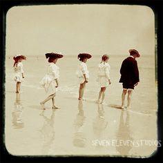 Antique Beach Photo  Child Kids Playing by SevenElevenStudios, $15.00