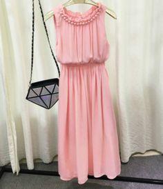 Chiffon Beach Casual Pink Dress