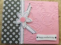 Handmade MOTHER'S DAY Card EMBOSSED Stampin Up FLOWERS
