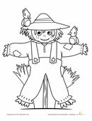 This scarecrow in this scarecrow coloring page isn't very scary, but he sure will warm your heart!