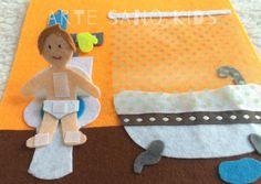 Cuarto de baño. Psicomotricidad y habilidades de la vida diaria. Quietbook/Libro sensorial by Arte Sano KIDS. Juguetes sensoriales y educativos hechos a mano. Visita nuestra página de Facebook: Arte Sano KIDS. Instagram: @artesanokids