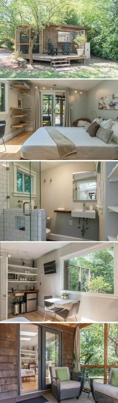 Plans of Woodworking Diy Projects - Tiny House Get A Lifetime Of Project Ideas & Inspiration! Woodworking Projects Diy, Diy Projects, Woodworking Plans, Casas Containers, Building A Container Home, Container Homes, Tiny House Living, Tiny Guest House, Tiny Beach House