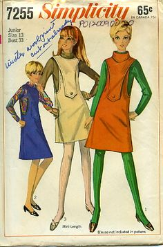 Vintage 60's Simplicity 7255 Jumper Dress Mini S-13 B-33     ACT II