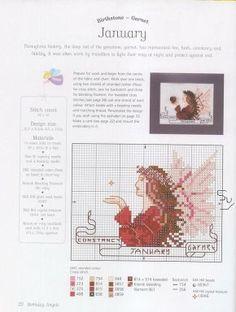 January - Fairy 1 of 12 Free Cross Stitch Charts, Counted Cross Stitch Patterns, Cross Stitch Designs, Cross Stitch Embroidery, Cross Stitch Fairy, Cross Stitch Angels, Just Cross Stitch, Stitch And Angel, Cross Stitch Boards