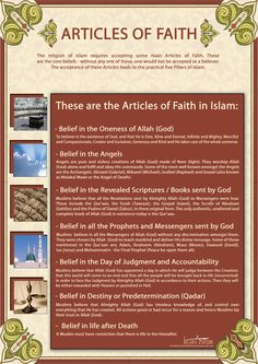 Articles of Faith in Islam - There are being translated in to French and spanish for world Distribution - Aimed and Muslim and non Muslims and Also for . Articles of Faith in Islam Pillars Of Islam, 5 Pillars, Saint Coran, Islamic Posters, Islam For Kids, Islamic Inspirational Quotes, Islamic Quotes, Islamic Art, Coran Islam