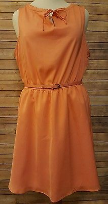 New LC Lauren Conrad Dress Size L Swept Ashore Burnt Coral Belted Ruffle Neck