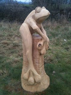 oak frog chainsaw carving | Flickr - Photo Sharing!