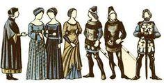Aquí podemos observar siete tipos de prendas de la baja Edad Media. En ella hay un caballero, trovaor, juglar, tres damas y una señor figurativo de la Iglesia.