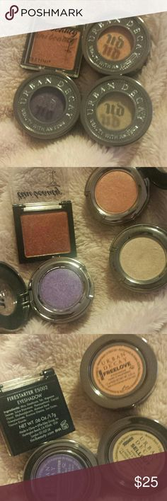 Eyeshadow bundle Firestarter eyeshadow swatched once NOT INCLUDED Free love used once  Psychedelic appears to be used twice  Sellout appears to be used 3 or 4 times Urban Decay Makeup Eyeshadow