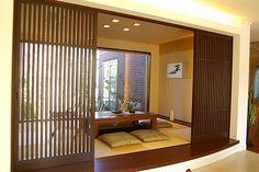 和室&こたつ (japanese room with kotatsu - a low wooden table with a heat source covered by a futon) in my dream home Modern Japanese Interior, Traditional Japanese House, Asian Interior, Japanese Interior Design, Japanese Home Decor, Home Interior Design, Japanese Modern, Japanese Style, Tatami Room