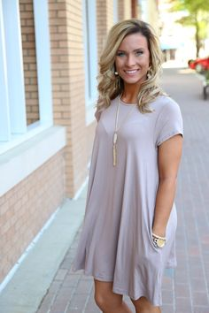piko swing dress taupe Dress Outfits, Fall Outfits, Casual Dresses, Cute Outfits, Fashion Outfits, Piko Dress, Dress Skirt, Taupe Dress, Church Fashion