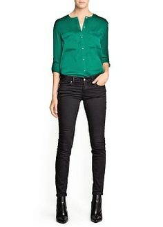 MANGO - CLOTHING - Tops - Textured satin blouse