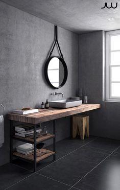 Gray Scandinavian bathroom on Behance - Badezimmer - Bathroom Decor Modern Bathroom Decor, Grey Bathrooms, Bathroom Layout, Beautiful Bathrooms, Bathroom Interior Design, Small Bathroom, Bathroom Ideas, Basement Bathroom, Bath Ideas