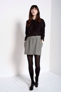 Featured: Des Petits Hauts - Minirock grau Source by janmauerhofer - Fashion Tights, Tights Outfit, Fashion Outfits, Fashion Mode, Work Fashion, Womens Fashion, Cool Outfits, Casual Outfits, Grunge Outfits