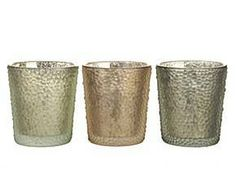 3 Bougeoirs verre, Multicolore – H10 - 18€