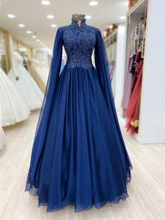 Evening Gowns With Sleeves, A Line Evening Dress, Formal Evening Dresses, Dress Formal, Indian Gowns Dresses, Ball Gown Dresses, Bridal Dresses, Modest Dresses For Women, Muslimah Wedding Dress
