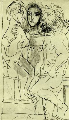 Pablo Picasso, Sculptor, Model and Sculpture of a Seated Figure, 1933