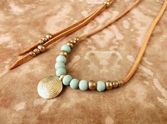 Tribal Necklace Suede Leather Necklace Brass Spiral Pendant - Seafoam / Mint - Ethnic Jewelry Tribal Jewelry Boho Jewelry Bohemian Jewelry on Etsy, $24.00