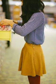 Mustard skirt with a gingham shirt and tights. I love this outfit for the colors and the pattern of the shirt!