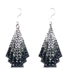 My daughter Lily pointed these out and oooooh I want those earrings!  Girl's got taste! (She's 6)  Tarina Tarantino Black Swarovski Crystal Fan Earrings - Unique Vintage - Prom dresses, retro dresses, retro swimsuits.