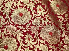 Red Silk Brocade Fabric, Banarasi Silk Brocade Fabric by the Yard, Banaras Brocade Silk Red Gold Weaving for Wedding Dress, Indian Art Silk