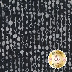 Bali Chop 2628-076 Beaded Curtain Pewter By Hoffman Batiks: Bali Chop is a batik collection from Hoffman Fabrics. This fabric features the look of a gray beaded curtain on a black background.