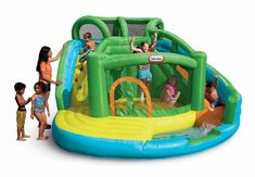 Little Tikes 2-in-1 Wet 'n Dry Inflatable Bouncer. 2-in-1 inflatable wet or dry bouncer. Climbing wall leads to crawl-through tunnel and large slide. Cool splash pool for soft, fun landings. Large bouncing surface with a safety net entrance way. Designed for outdoor use only.