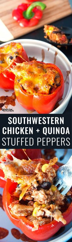 Southwestern Chicken and Quinoa Stuffed Peppers - this healthy chicken stuffed peppers recipe is super yummy, fast and easy. It's a great source of protein, fibre and vegetables. | thebewitchinkitchen.com #chickendotca