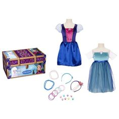 Reusable trunk is full of beautiful items Including an Anna and Elsa dress, two headbands, two necklaces, rings and bracelets She will have hours of fun pretending to be Anna and Elsa with this 20 piece set