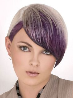 Tint your locks with a subtle still show-stopping shade and copycat this purple bangs hair style that looks simply stunning when paired with all hair textures and lengths. Short Bob Hairstyles, Hairstyles With Bangs, Cool Hairstyles, Wild Hairstyles, Blonde Hairstyles, Blonde Hair With Highlights, Balayage Hair Blonde, Medium Hair Styles, Short Hair Styles
