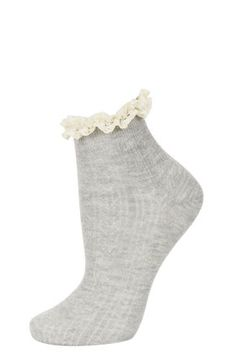 Grey Cream Lace Trim Socks