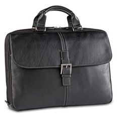 Boconi Tyler Leather Portfolio Brief   Love the combo of the magnetic flap closure and a zipper closure to the main compartment. Can hold everything from your papers and files, to a laptop and tablet.
