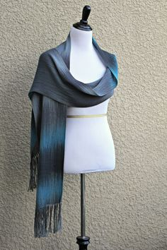 "Hand woven long scarf, pashmina with gradually changing colors from blue to silver and dark grey. Perfect model for both men and women.Measures:L: 78"" with 6"" fringe on bot... #kgthreads #accessories #cozy #fall #fashion #gift #gradient #unisex #women #wrap"