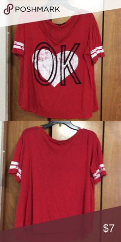 "Red top Red top with white heart and word ""OK"" LDLA Tops Tees - Short Sleeve"