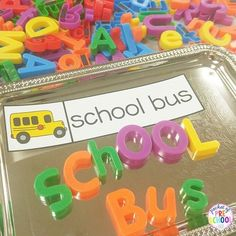 Magnet letters and transportation vocabulary word cards look very fancy on these trays from the Dollar Tree.