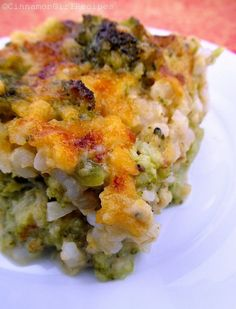 Broccoli, cheese, rice casserole.