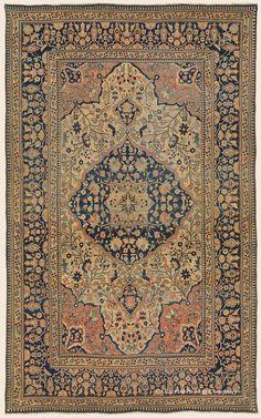 "MOTASHAM KASHAN, 4' 5"" x 7' 0"" — 3rd Quarter, 19th Century, Central Persian Antique Rug - Claremont Rug Company"
