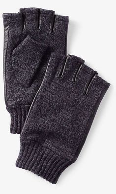 For Him: Leather Trim Marled Fingerless Gloves @Express