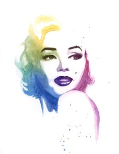 Marilyn Monroe Colorful Watercolor Art Print by TangledAntlersMKE