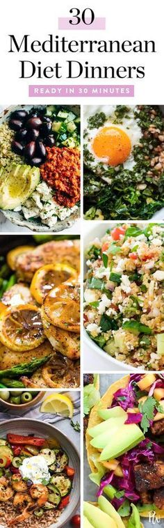 Here are 30 quick (and extremely tasty) Mediterranean Diet dinners to whip up on weeknights. #mediterraneandiet #mediterranean #healthyrecipes #recipes #dinnerrecipes #mediterraneanrecipes