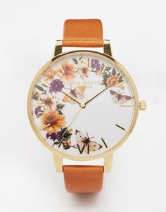 Olivia Burton | Olivia Burton Enchanted Garden Tan Leather Watch at ASOS