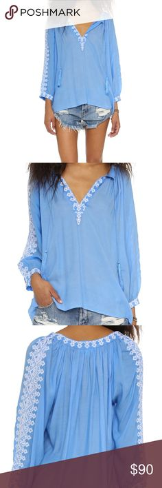 Melissa Odabash beach blouse An airy Melissa Odabash cover-up blouse, accented with delicate embroidery. Tie front keyhole. Long sleeves. Fabric: voile. 100% rayon. One size. In excellent, nearly brand new condition. Melissa Odabash Tops Blouses
