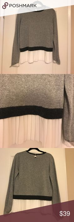 Gray sweater with over pleating Super cute sweater with tags ! Throw it over some leather pants and heels clotheshead Sweaters Crew & Scoop Necks