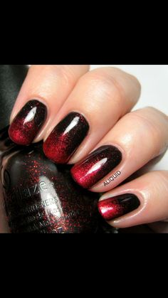 Black and burgundy gradient nail design