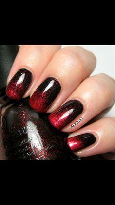 Black and burgundy gradient nail design