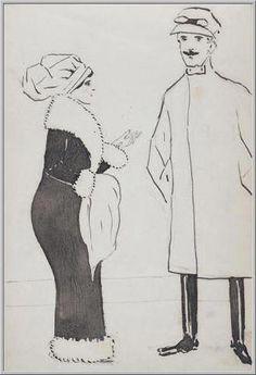 Mario Tozzi 1912: Figura Femminile e Maschile. Disegno matita e inchiostro - cm.(11x17) - Collezione eredi Brunetti-Laderchi Bologna - Archivio n.410.