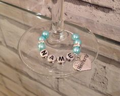 Blue & Sparkle Personalised Wedding Wine Glass Charms £2 each!  Buy 3 Get 1 FREE. Variety of Roles Available. Perfect for Hen Parties/Bridal Showers by 44DaisyStreet on Etsy