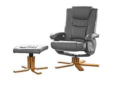 Brand New Feliz Massage And Heat Swivel Recliner with Matching Footstool in Bonded Leather (Grey)