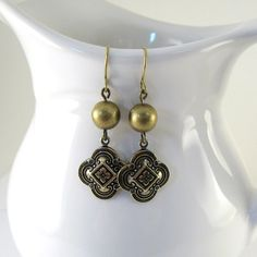 Gold Clover Earrings Antique Gold Beaded Wire by CinLynnBoutique, $15.00