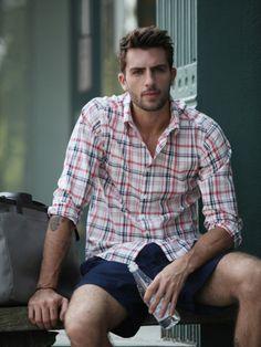 men, clothing inspiration, plaid button up, blue shorts